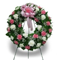 Pink and White Carnation Wreath  in Clearwater, FL | FLOWERAMA
