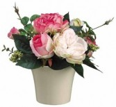 Pink Garden Rose Bouquet-SILK BOTANICALS