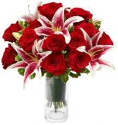 STARFIGHTER LILIES & RED ROSES ARRANGEMENT in Rockville, MD | ROCKVILLE FLORIST & GIFT BASKETS