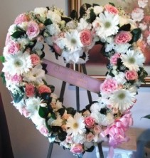 Pink & White Mix Open Heart Funeral Standing Spray