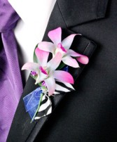 POSH PURPLE ORCHIDS Prom Boutonniere in San Diego, CA | NOSTALGIA D GLORIOUS CONQUEROR IN FLOWER DESIGN