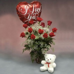 Premium Red Roses  With White Bear and I Love You Balloon