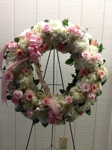 Pretty in Pink and White Funeral Wreath in Fairfield, CT | Blossoms at Dailey's Flower Shop