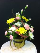 PRETTY IN PINK Basket Arrangement in Springfield, MO | BLOSSOMS