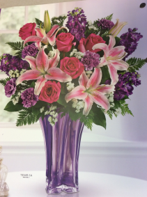 Purple and pinks in purple vase  Purple vase arrangement