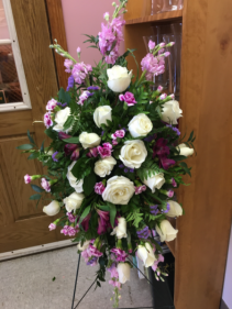Purple and White remembrance Funeral spray