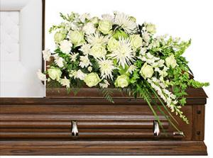 QUIET COMMEMORATION Casket Arrangement in Angier, NC | ANGIER FLORIST