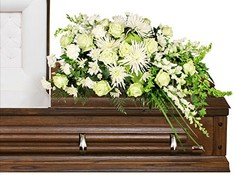 QUIET COMMEMORATION Casket Arrangement in West Hills, CA | RAMBLING ROSE FLORIST