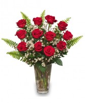 RAVISHING DOZEN Rose Arrangement in Michigan City, IN | WRIGHT'S FLOWERS AND GIFTS INC.
