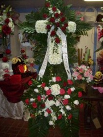 red and white cross standing spray