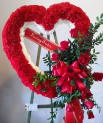 Red Open Heart With Red Cascading Roses Funeral Standing Spray