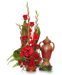 RED REMEMBRANCE Cremation Flowers  (urn not included)  in Pembroke, MA | CANDY JAR AND DESIGNS IN BLOOM