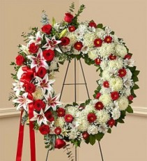Red Rose and Lily Standing Wreath EF52