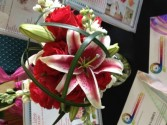 Red Rose and Star Gazer Lilies bouquet