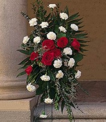 Red Rose and White Carnations Standing Spray