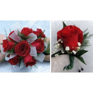 Red rose boutineer and wristlet Prom Set in Lebanon, NH | LEBANON GARDEN OF EDEN FLORAL SHOP