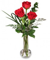 RED ROSE BUD VASE Flower Design in Raleigh, NC | FALLS LAKE FLORIST