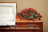 Red Rose Casket Spray Funeral Flowers in Unionville, CT | J W FLORIST