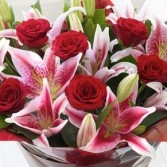 FRAGRANT ROSES AND LILY  BOUQUET ROSES LILIES STOCK