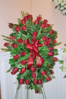 red rose spray funeral