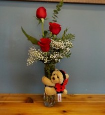 Red Rose Trio with a Love Bug Red roses in a vase