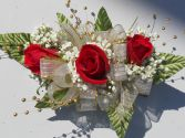 Red Roses With Gold Ribbon and Gold Pearls