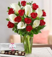 RED ROSES AND CALLAS