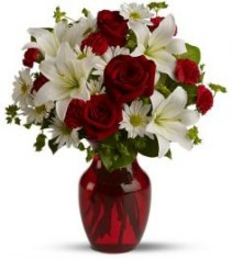 RED ROSES AND WHITE LILIES Vase Arrangement