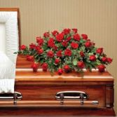RED ROSES CASKET SPRAY in Edison, NJ | E&E FLOWERS AND GIFTS