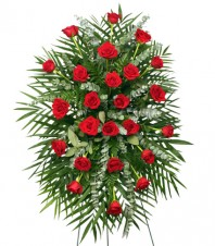 RED ROSES STANDING SPRAY of Funeral Flowers