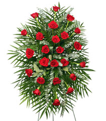 RED ROSES STANDING SPRAY of Funeral Flowers in Hillsboro, OR | FLOWERS BY BURKHARDT'S