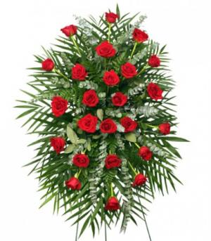 RED ROSES STANDING SPRAY of Funeral Flowers in Didsbury, AB | In Bloom Flowers & Gifts