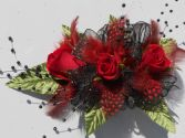 Red Roses with Red Feathers, Black Ribbon & Pearls