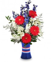 RED, WHITE & BEAUTIFUL Bouquet of Flowers in Peachtree City, GA | BEDAZZLED