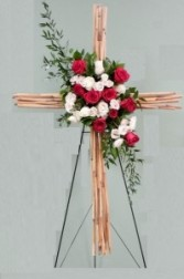 Red & White River Cane Cross Standing Spray