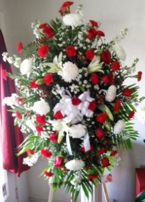 Red & White Standing Spray Funeral Standing Spray