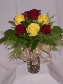 RED & YELLOW VELVET ROSES