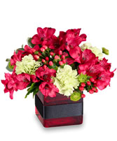 RESPLENDENT RED Floral Arrangment in Evergreen Park, IL | Q R D FLOWERS
