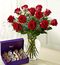 Romantic Gesture Roses and Chocolate Dipped Strawberries