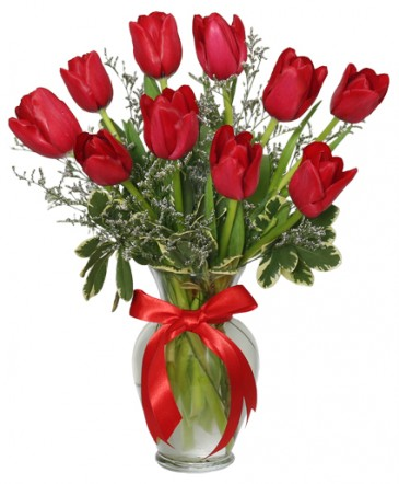 Romantic Red Tulips Arrangement