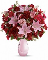 Roses and Pearls Valentine Arrangement