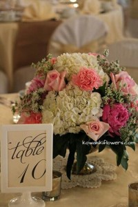 Roses, Peonies & Hygrangeas Reception Centerpieces in Whitesboro, NY | KOWALSKI FLOWERS INC.