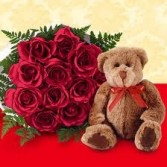 Roses,Bear & Chocolates Wraped Roses  in Windsor, ON | K. MICHAEL'S FLOWERS & GIFTS