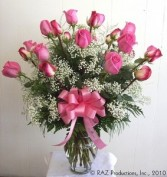 TWO DOZEN PINK ROSES Vase Arrangement in Edison, NJ | E&E FLOWERS AND GIFTS
