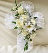 Satin Cross with fresh flowers  To be placed inside the casket this is also offered in your choice of flowers