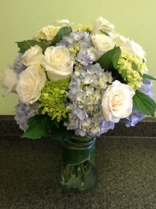 Sea Breeze Roses and Hydrangea Mix Vase Arrangement in Fairfield, CT | Blossoms at Dailey's Flower Shop