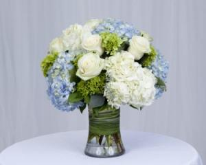 Seabreeze Rose and Hydrangea Mix Vase Arrangement in Fairfield, CT | Blossoms at Dailey's Flower Shop