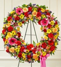 Serene Blessings Bright Standing Wreath sympathy flowers