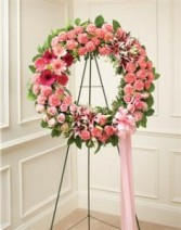 Serene Blessings Standing Wreath - Pink  Funeral
