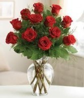 *SHOW HER YOU CARE* 1 Dozen long stem red roses in a vase